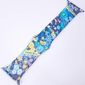 Blue Floral Silicone Band Compatible Smart Watch –